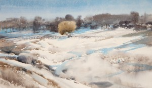 """Snow thaws"" watercolor on paper, 35 x 60, 2013"
