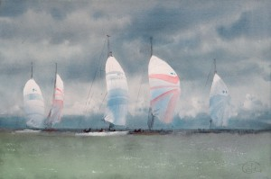 """Downwind run"" watercolor on paper, 37 x 56, 2013"