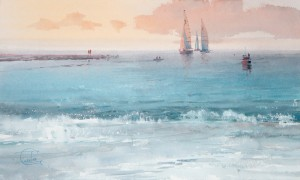 """Evening. Silent sea"" watercolor on paper, 34 x 56, 2013"