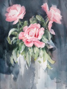 """Peonies"" watercolor on paper, 61 x 46, 2013"