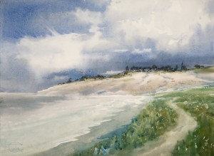 """Clouds over the shore"" watercolor on paper, 41 x 56, 2013"