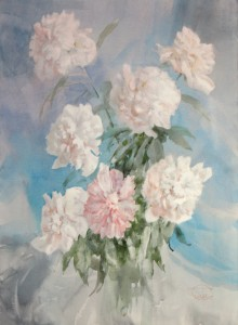 """7 Peonies"" watercolor on paper, 76 x 56, 2013"