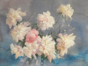 """White peonies and one red buton"" watercolor on paper, 56 x 76, 2013"