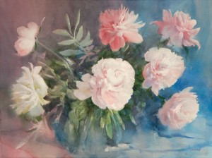 """Peonies on a hot day"" watercolor on paper, 56 x 76, 2013"