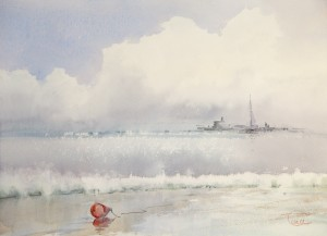 """Sea is quietly again"" watercolor on paper, 41 x 56, 2013"