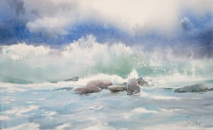 """Stones and incoming wave"" watercolor on paper, 34 x 56, 2013"