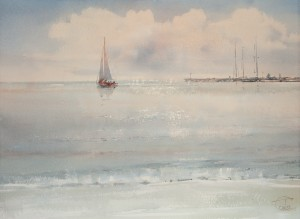 """Quiet sea. Evening"" watercolor on paper, 41 x 56, 2013"