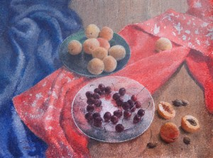"""Fruits on glass plates"" watercolor on paper, 56 x 76, 2013"