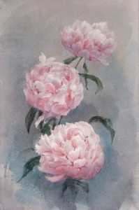 """Disclosed peony flowers"" watercolor on paper, 57 x 38, 2013"