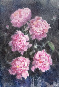 """Peonies, that will be a gift in the morning"" watercolor on paper, 56 x 38, 2013"
