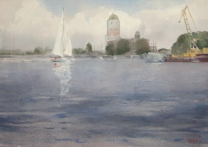 """Southern harbor and Vyborg Castle"" watercolor on paper, 41 x 57, 2013"