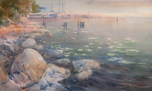 """Stones, water lilies and the low sun"" watercolor on paper, 34 x 57, 2013"