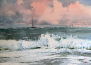 """Heavy sea"" watercolor on paper, 41 x 57, 2013"