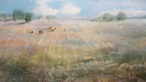"""Autumn Fields"" watercolor on paper, 34 x 61, 2013"