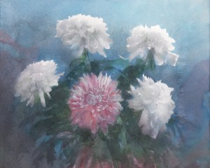 """Chrysanthemums in an early autumn"" watercolor on paper, 38 x 48, 2013"