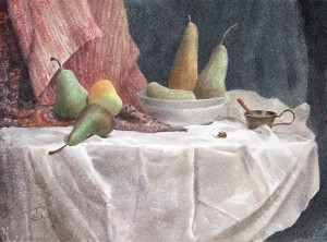 """Pears, apple and one anise star"" watercolor on paper, 56 x 76, 2013"