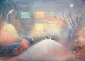 """Moon over night street"" watercolor on paper, 41 x 56, 2013"