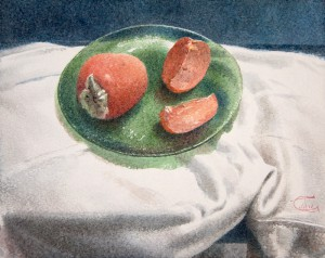 """Persimmon on the green glass plate"" watercolor on paper, 40 x 50, 2013"