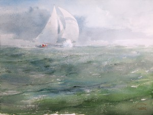 """Under full sails"" watercolor on paper, 46 x 61, 2013"