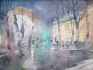 """November's drizzling rain"" watercolor on paper, 46 x 61, 2013"