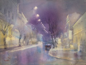 """The light of night streets"" watercolor on paper, 46 x 61, 2013"