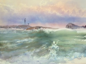 """Along the coast, along the rocky ridge"" watercolor on paper, 56 x 76, 2013"