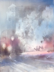 """On the night after the first snowfall"" watercolor on paper, 61 x 46, 2013"
