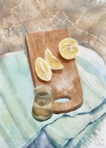 """Cutted lemon and herbal tea"" watercolor on paper, 56 x 41, 2013"
