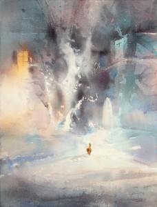 """Courtyard on New Year's night"" watercolor on paper, 61 x 46, 2013"