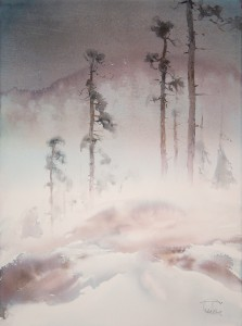 """""""The Wind Greeters"""" (Pines on a hills) watercolor on paper, 76 x 56, 2014"""