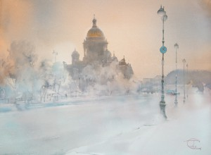 """St-Petersburg' winter morning. The Cathedral"" watercolor on paper, 56 x 76, 2014"