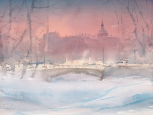 """A short day of the St-Petersburg' winter. The Castle"" watercolor on paper, 56 x 76, 2014"