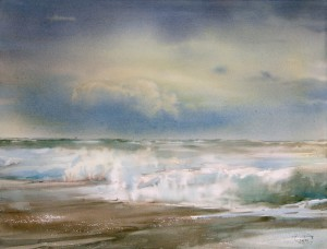 """Rustle of sea foam"" watercolor on paper, 56 x 76, 2014"