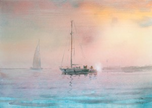 """Out to sea"" watercolor on paper, 50 x 70, 2014"