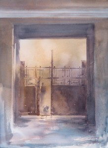 """Spring morning. The gate"" watercolor on paper, 41 x 56, 2014"