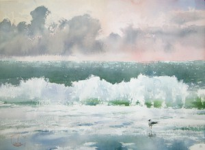 """Seascape with Seagull"" watercolor on paper, 41 x 56, 2014"