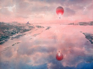 """Red aerostat"" watercolor on paper, 56 x 76, 2014"