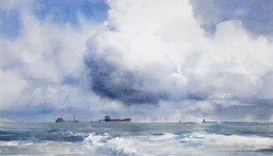 """Clouds over the sea channel"" watercolor on paper, 29 x 50, 2014"