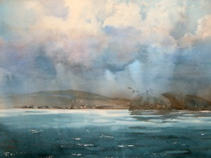 """Rain over the far shore"" watercolor on paper, 56 x 76, 2014"