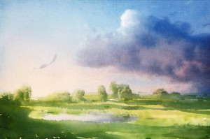 """""""May evening's shadows"""" watercolor on paper, 38 x 56, 2014"""