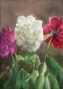 """Peonies at the end of a hot day"" watercolor on paper, 29 x 21, 2014"