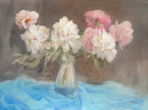 """Pink and white peonies"" watercolor on paper, 56 x 76, 2014"