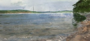 """Ayaks Bay, Russky Island. The Bridge"" watercolor on paper, 30 x 65, 2014"