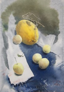 """""""Modest September delicacies"""" watercolor on paper, 61 x 43, 2014"""