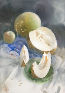 """""""A little sweet on the glass a green plate"""" watercolor on paper, 61 x 43, 2014"""