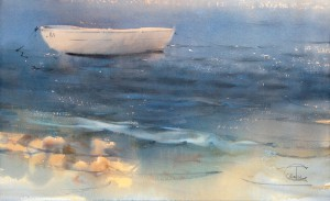 """Boat near the shore"" watercolor on paper, 34 x 56, 2014"