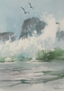 """Wave #1"" watercolor on paper, 29 x 20, 2014"
