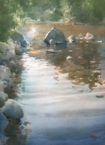 """Evening sun over backwater"" watercolor on paper, 56 x 40, 2014"
