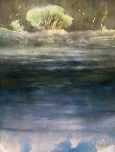 """Willow bush on deep water"" watercolor on paper, 61 x 46, 2014"