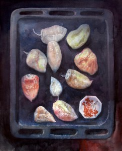 """Roasted Bell Peppers & Viburnum Berries"" watercolor on paper, 64 x 52, 2014"